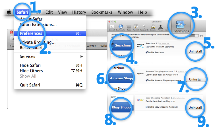 Uninstall Vuze Mac Extensions from Safari