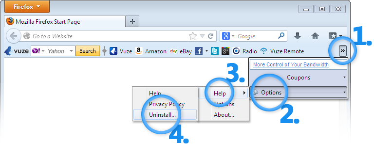Remove Vuze Toolbar from Firefox