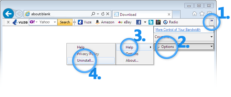 Remove Vuze Toolbar from Internet Explorer
